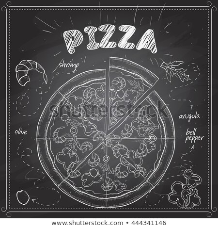 Pizza with shrimp scetch on a black board Stock photo © netkov1