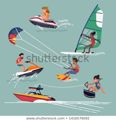 Water Fun Extreme Sports Set, Windsurfing Gliding Stock photo © robuart