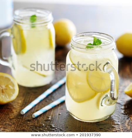 cocktail with lemon drink with straw and ice Stock photo © rogistok