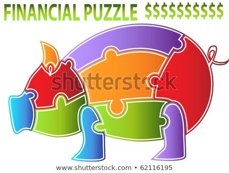 piggy · bank · vermelho · quebra-cabeça · branco · negócio · idéia - foto stock © limbi007