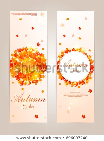 Zestaw reklama plakaty klon pozostawia jesienią Zdjęcia stock © robuart