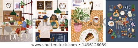 Family Eating Out at Table, Cafe Interior Design Stock photo © robuart