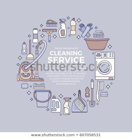 Plastik çamaşır makinesi ahşap makine Stok fotoğraf © dashapetrenko