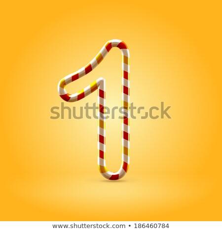 Citromsárga betűtípus szám egy 3D 3d render Stock fotó © djmilic