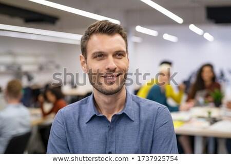 Otimista empresário escritório retrato sorridente Foto stock © lichtmeister