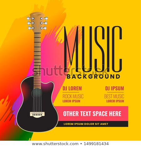 musical flyer poster with realistic acoustic guitar Stock photo © SArts
