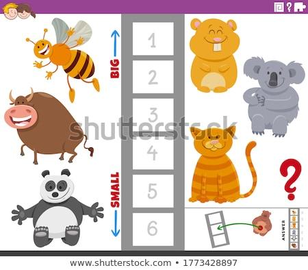 Pädagogisch Spiel groß wenig Tiere Karikatur Stock foto © izakowski