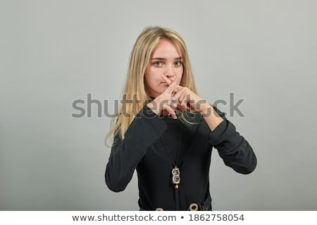 nő · mutat · téves · jelbeszéd · kommunikál · szó - stock fotó © AndreyPopov