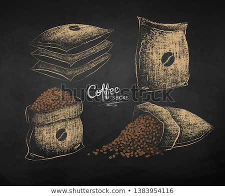 Chalk drawn sketches of sacks with coffee beans Stock photo © Sonya_illustrations