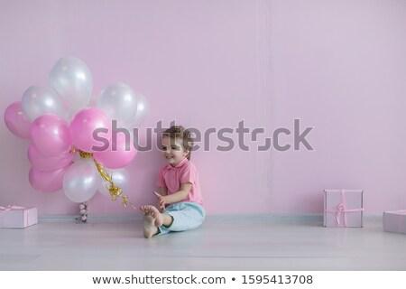 裸足 少年 歳の誕生日 お祝い ピンク 白 ストックフォト © ElenaBatkova