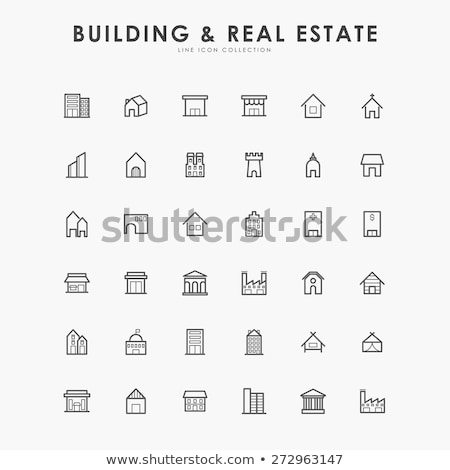 people of residential buildings icon vector outline illustration Stock photo © pikepicture