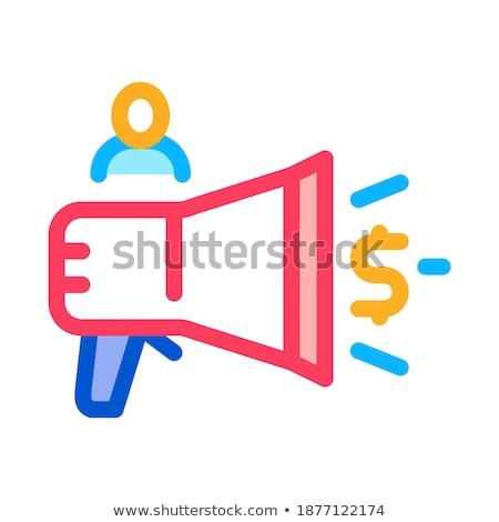 Lautsprecher Ankündigung Geld Symbol Vektor Gliederung Stock foto © pikepicture