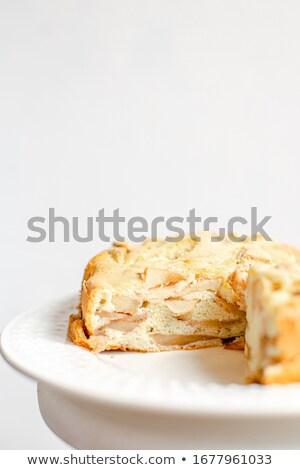 Homemade Organic Apple Pie Dessert Charlotte. Cobbler Apple Pie on White Plate. Stock photo © user_15523892
