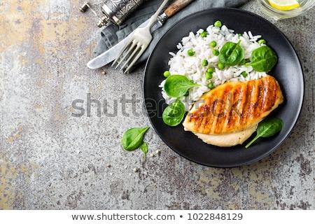 курица-гриль груди риса растительное здорового обед Сток-фото © furmanphoto