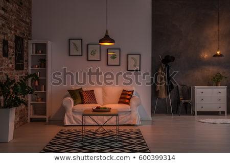 oturma · odası · iç · mimari · ışık · beton · duvar · 3D - stok fotoğraf © spectral