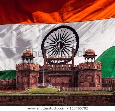 Rood fort indian vlag Delhi Indië Stockfoto © dmitry_rukhlenko