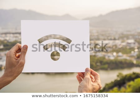 Wifi Internet ikon eller köy bilgisayar Stok fotoğraf © galitskaya