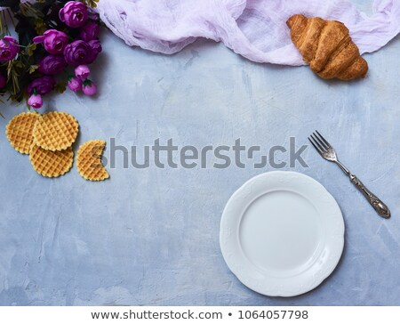 Two croissants over wooden background Stock photo © aladin66