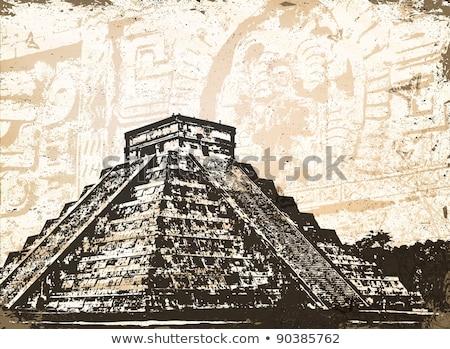 Antique Mayan Pyramid and Glyphs  Stock photo © dayzeren