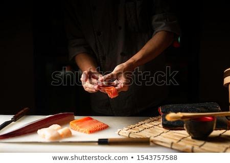 Japán · szakács · örömteli · japán · szusi · nyugtalan - stock fotó © sahua
