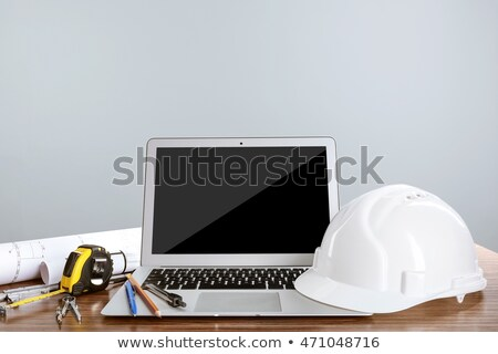 Blueprints background with computer and tools  Stock photo © Taiga