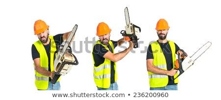 láncfűrész · férfi · vág · fa · fa · építkezés - stock fotó © andreykr
