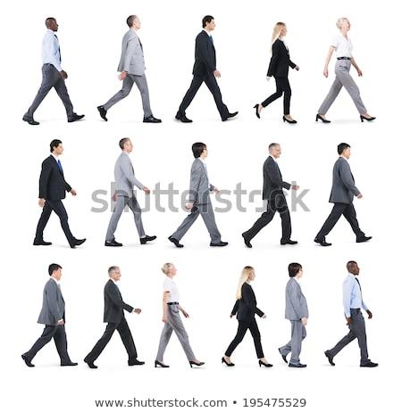 Foto stock: Empresária · caminhada · isolado · falante · telefone · móvel · jovem