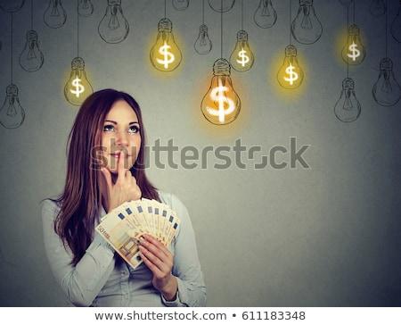 Nő tart energia felirat épület boldog Stock fotó © photography33