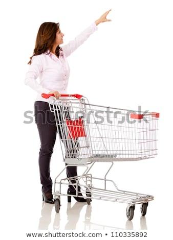 nő · bevásárlókocsi · fehér · boldog · mosolyog · hölgy - stock fotó © dolgachov