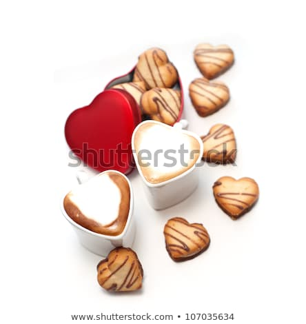 heart shaped cream cookies on red heart metal box and coffee stock photo © keko64