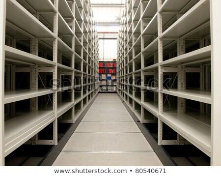 üres polcok tároló sorok elhagyatott gyár Stock fotó © sirylok