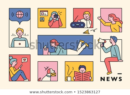 man with squares illustration stock photo © sirylok