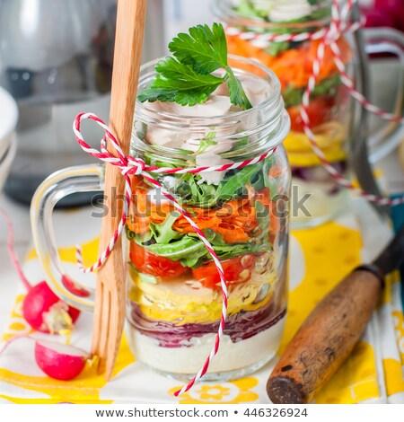 Ensalada yogurt aderezo vidrio agua mantel Foto stock © ildi