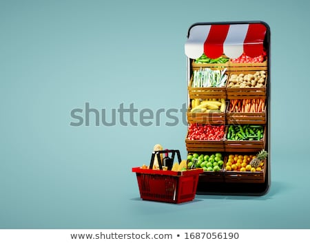 tablet computer and food icons stock photo © adamson