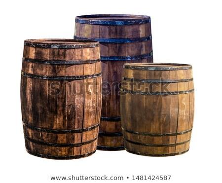 Foto stock: Wine Barrels And Wine On A Dark Background