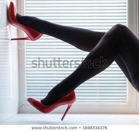 Feminino pernas meia-calça sapatos colagem calcanhares Foto stock © RuslanOmega