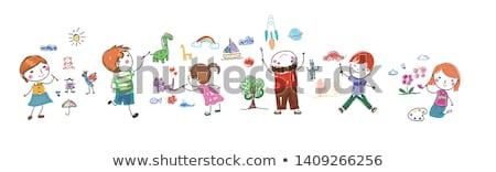çocukça çizim soyut levha kâğıt Stok fotoğraf © pzaxe