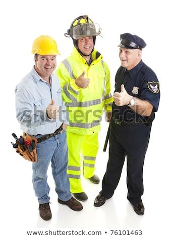 policjant · podpisania · odizolowany · biały - zdjęcia stock © lisafx