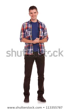 Młody człowiek wdzięczny zdjęcie przypadkowy stałego Zdjęcia stock © feedough