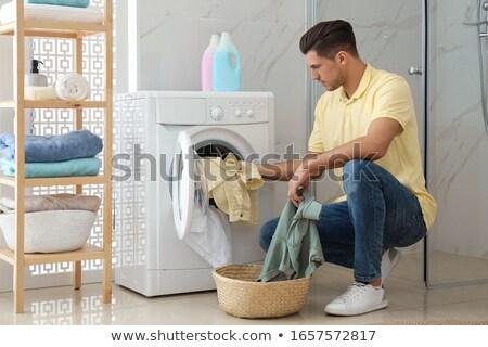wasmand · handdoeken · blauwe · hemel · huis · ontwerp · home - stockfoto © sandralise