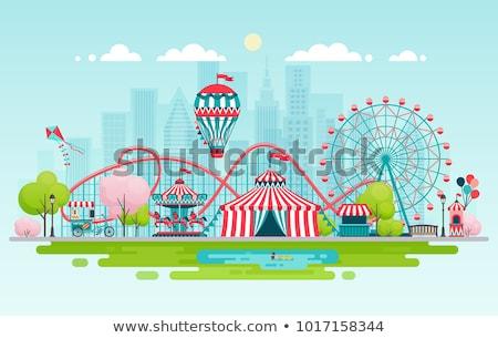 parque · de · atracciones · cielo · azul · diversión · parque · blanco - foto stock © vlad_podkhlebnik