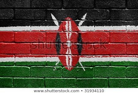 ストックフォト: フラグ · ケニア · レンガの壁 · 描いた · グランジ · テクスチャ