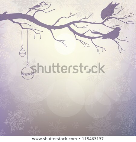 light winter background with silhouette of branch with birds stock photo © 0mela