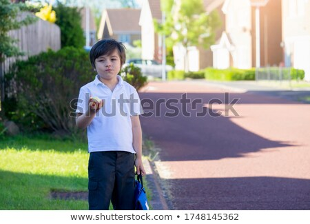 adorable child boy eating red apple outside stock photo © feverpitch