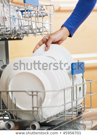 trabalhos · domésticos · mulher · jovem · pratos · lava-louças · casa · menina - foto stock © wavebreak_media