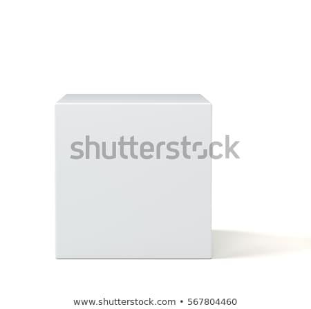 küp · yalıtılmış · beyaz · mavi · gri · soyut - stok fotoğraf © MikhailMishchenko