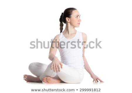 Jonge vrouw revolver geïsoleerd witte gezicht pistool Stockfoto © acidgrey
