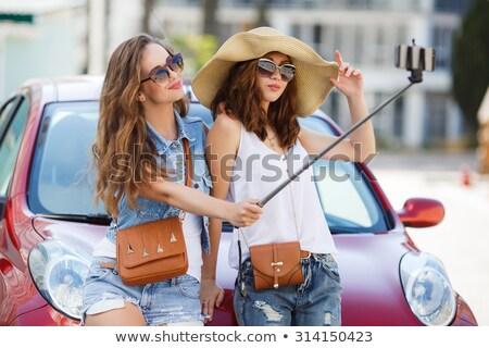 пару · оптик · оптик · покупке · Солнцезащитные · очки · женщину - Сток-фото © acidgrey