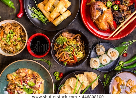 Stock photo: chinese food, spring roll and rice