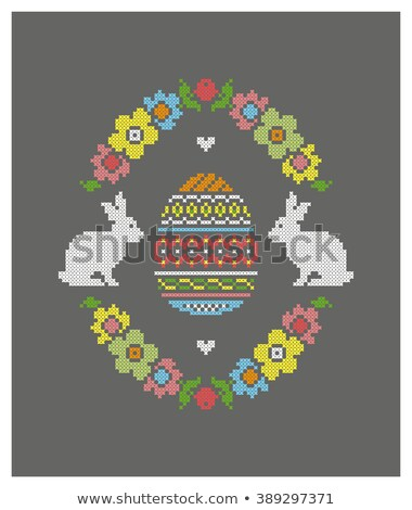 Happy Easter cross stitch, vector Stock photo © beaubelle